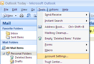 MS Outlook 2007 Screenshot
