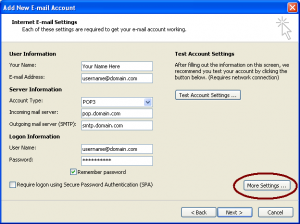 Internet E-mail Settings Screenshot (click to enlarge)